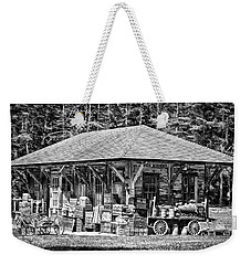 Weekender Tote Bag featuring the photograph Cummings Railroad Depot, Luggage by Betty Denise