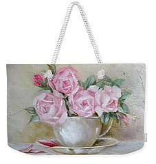 Weekender Tote Bag featuring the painting Cup And Saucer Roses by Chris Hobel
