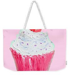 Cupcake Painting On Pink Background Weekender Tote Bag by Jan Matson