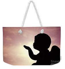 Weekender Tote Bag featuring the photograph Cupid Blowing Kisses by Cindy Garber Iverson