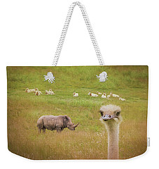 Curious Ostrich And White Rhino Weekender Tote Bag