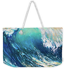 Weekender Tote Bag featuring the painting Curl At Sunset by Linda Olsen