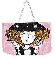Curly Girl In Polka Dots Weekender Tote Bag