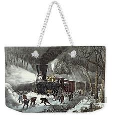 Currier And Ives Weekender Tote Bag by American Railroad Scene