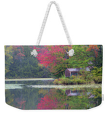 Weekender Tote Bag featuring the photograph Curtis Pond Misty Autumn by Alan L Graham