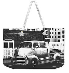 Weekender Tote Bag featuring the photograph Custom Chevy Asbury Park Nj Black And White by Terry DeLuco