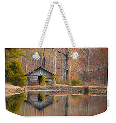 Custom Crop - Cabin By The Lake Weekender Tote Bag by Shelby  Young
