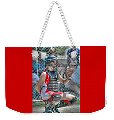 Cute Catcher In Red And White. Weekender Tote Bag