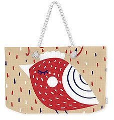 Weekender Tote Bag featuring the digital art Cute Christmas Cards With Image Of A Bird In A Scandinavian Styl by Christopher Meade