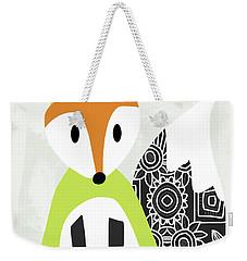 Cute Green And Black Fox- Art By Linda Woods Weekender Tote Bag