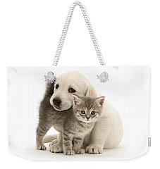Cute Kitten And Perfect Puppy Weekender Tote Bag