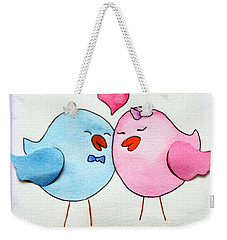 Cute Lovebirds Watercolour Weekender Tote Bag