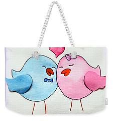 Cute Lovebirds Watercolour Weekender Tote Bag by Terri Waters