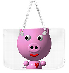 Cute Pink Pig With Purple Bow Weekender Tote Bag