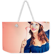 Weekender Tote Bag featuring the photograph Cute Pinup Cook Thinking Up Colander Cooking Idea by Jorgo Photography - Wall Art Gallery