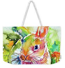 Weekender Tote Bag featuring the painting Cute Rabbit by Kovacs Anna Brigitta