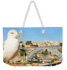 Cute Seagull And Porto's Cityscape Weekender Tote Bag