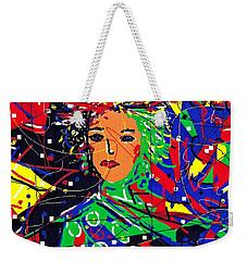 Weekender Tote Bag featuring the digital art Cyberspace Goddess by Natalie Holland
