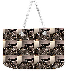Weekender Tote Bag featuring the photograph Cycle Bicycle Race Fan Graphics On Pillows Curtains Towels Tote Bags Phone Cases Christmas Holidays  by Navin Joshi