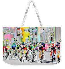 Cycling Down Main Street Usa Weekender Tote Bag by Vicki Pelham