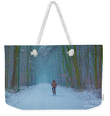 Cycling In The Snow Weekender Tote Bag