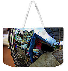 Weekender Tote Bag featuring the photograph Cyclist's View Of Biblian Church by Al Bourassa