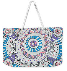 Weekender Tote Bag featuring the drawing Cylinder by Carole Breccht