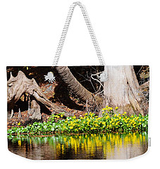 Cypress And Flower Reflections Weekender Tote Bag by Warren Thompson