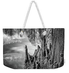 Weekender Tote Bag featuring the photograph Cypress Knees In Bw by James Barber