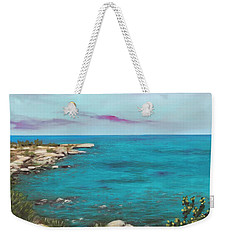 Weekender Tote Bag featuring the painting Cyprus - Protaras by Anastasiya Malakhova