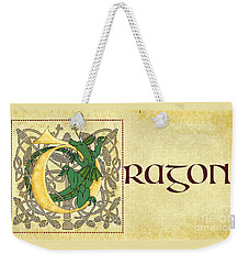 Weekender Tote Bag featuring the digital art D Is For Dragon Page Gold by Donna Huntriss