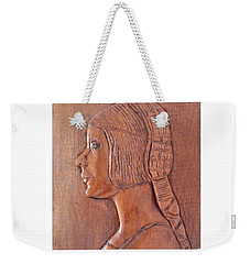 Weekender Tote Bag featuring the relief Da Vinci Girl by Esther Newman-Cohen