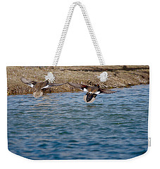 Gadwall Ducks - In Flight Side By Side Weekender Tote Bag