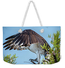 Weekender Tote Bag featuring the photograph Daddy Osprey On Guard by Donald Brown