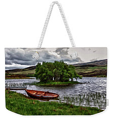 Weekender Tote Bag featuring the painting Dads Fishing Spot P D P by David Dehner