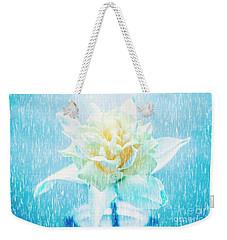 Daffodil Flower In Rain. Digital Art Weekender Tote Bag