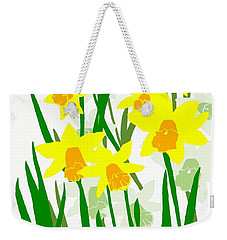 Weekender Tote Bag featuring the digital art Daffodils Drawing by Barbara Moignard