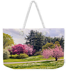 Weekender Tote Bag featuring the photograph Daffodils On A Hill by Jessica Jenney