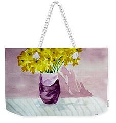 Weekender Tote Bag featuring the painting Daffs by Jamie Frier