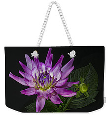 Weekender Tote Bag featuring the photograph Dahlia Glow by Roman Kurywczak