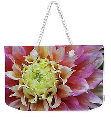 Weekender Tote Bag featuring the photograph Dahlia 'kogane Fubuki' by Ann Jacobson