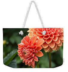 Dahlia Up Close Weekender Tote Bag by Arlene Carmel