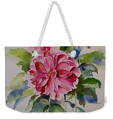 Weekender Tote Bag featuring the painting Dahlias Still Life Flowers by Geeta Biswas