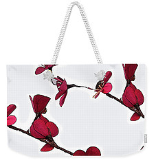 Dainty Red Double Stem  Weekender Tote Bag by Kirt Tisdale