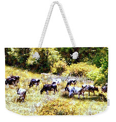 Dairy Cows In A Summer Pasture Weekender Tote Bag by Janine Riley