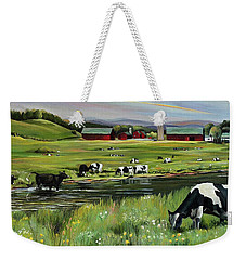 Weekender Tote Bag featuring the painting Dairy Farm Dream by Nancy Griswold