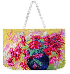 Daisies And Blue Vase Weekender Tote Bag by Jasna Dragun