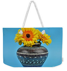 Daisies Displayed In Navajo Native American Vase Weekender Tote Bag