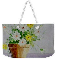 Weekender Tote Bag featuring the painting Daisies In Pot by Jamie Frier