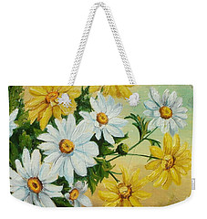 Weekender Tote Bag featuring the painting Daisies In The Sky by Sorin Apostolescu